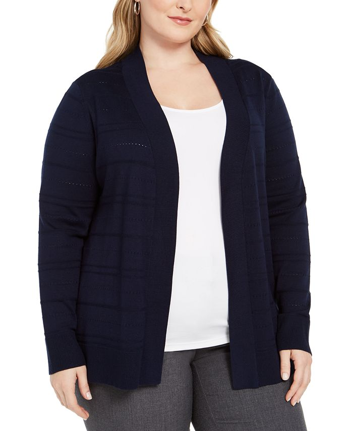 Karen Scott - Plus Size Pointelle Cardigan