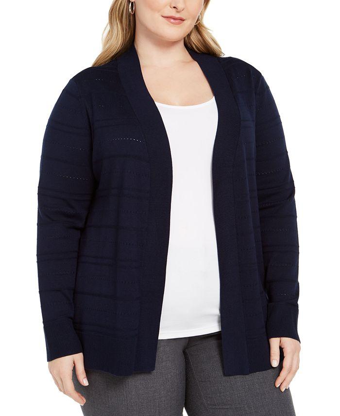 Karen Scott - Plus Size Pointelle Cardigan