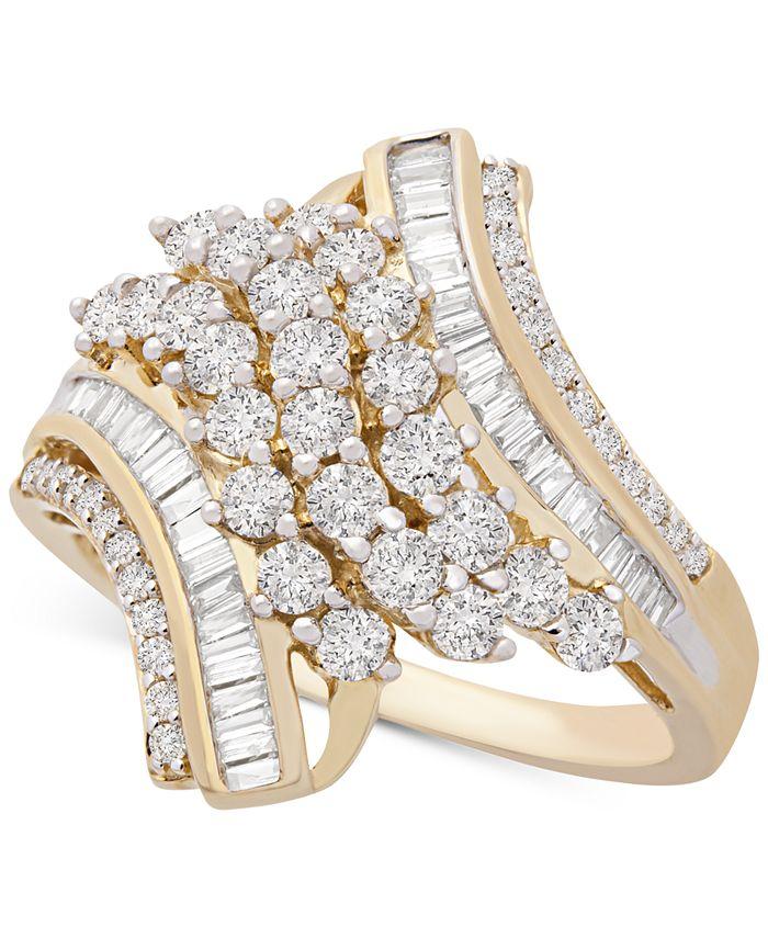 Macy's - Diamond Swirl Cluster Statement Ring (1 ct. t.w.) in 10k Gold