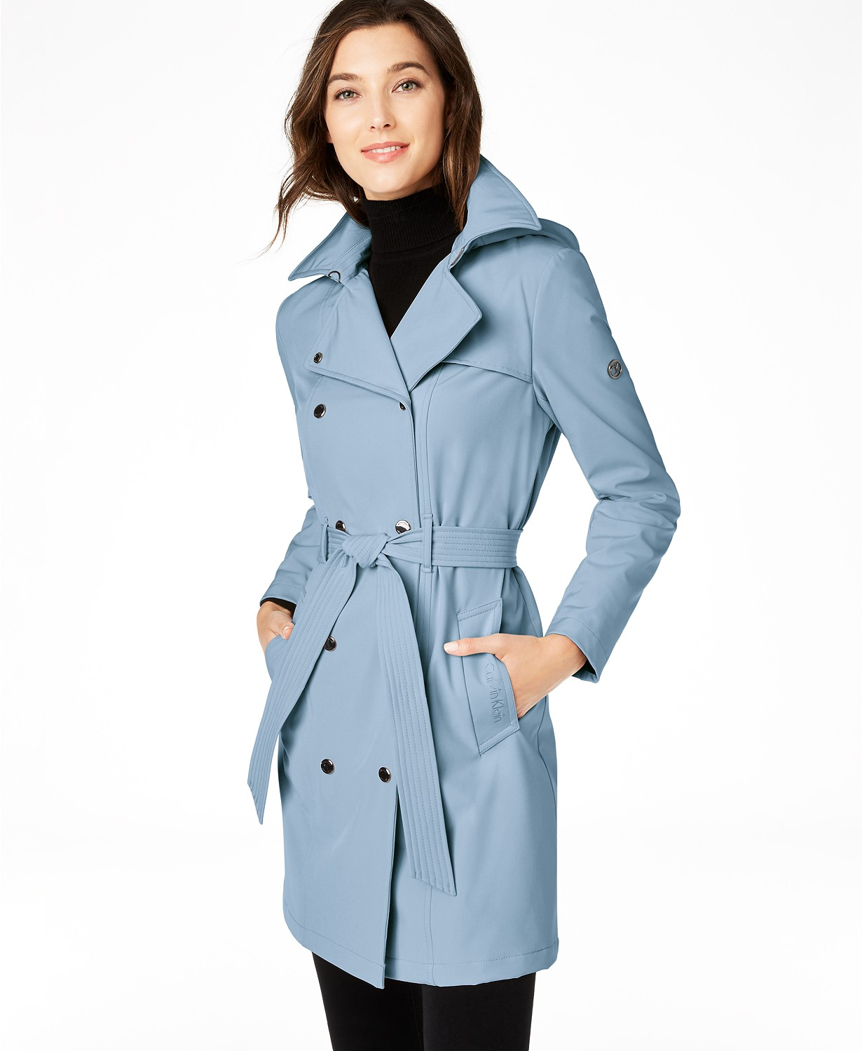 Calvin Klein Hooded Double-Breasted Water-Resistant Trench Coat