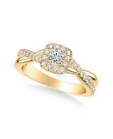 Diamond Halo Engagement Ring (5/8 ct. t.w.) in 14k White, Yellow or Rose Gold