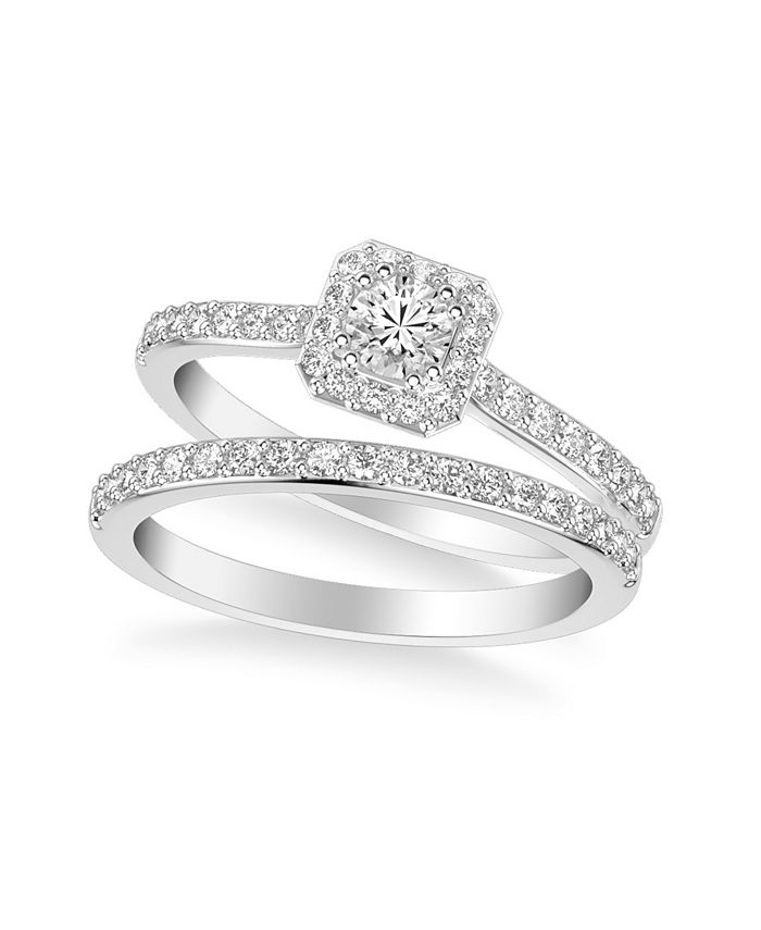 Macy's - Diamond Halo Bridal Set (3/4 ct. t.w.) in 14k White, Rose or Yellow Gold
