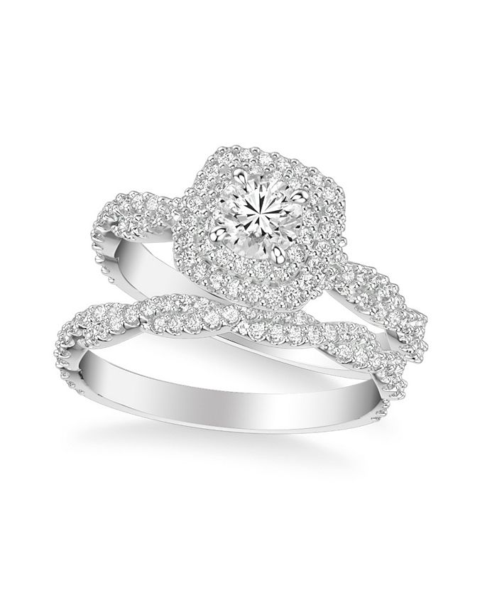 Macy's - Diamond Halo Bridal Set (1 1/4 ct. t.w.) in 14k White, Yellow or Rose Gold