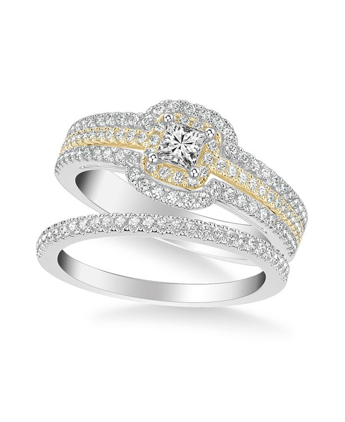 Macy's - Diamond Princess Bridal Set (7/8 ct. t.w.) in 14k Two Tone White & Yellow Gold or White & Rose Gold
