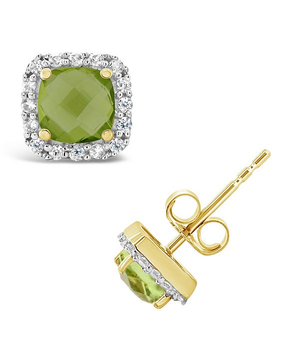 Macy's Peridot (1-1/5 ct. t.w.) and Created White Sapphire (1/5 ct. t.w.) Halo Stud Earrings in 10k Yellow Gold