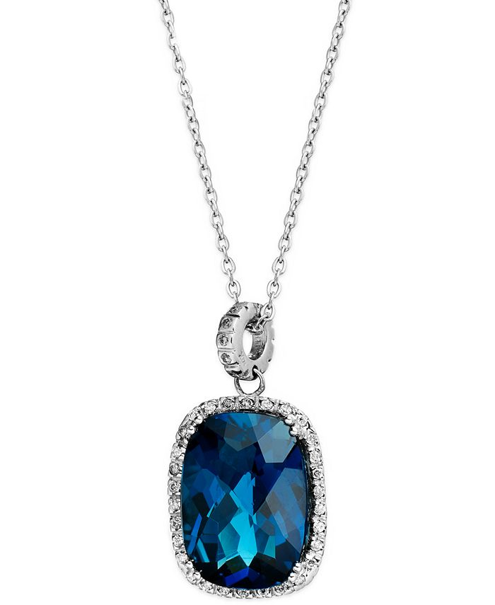 Macy's - 14k White Gold Necklace, London Blue Topaz (15 ct. t.w.) and Diamond (1/4 ct. t.w.) Rectangle Pendant