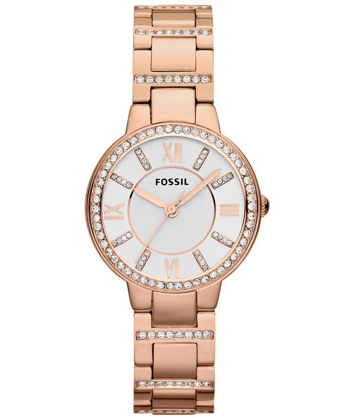Fossil - Women's Virginia Rose Gold-Tone Stainless Steel Bracelet Watch 30mm ES3284