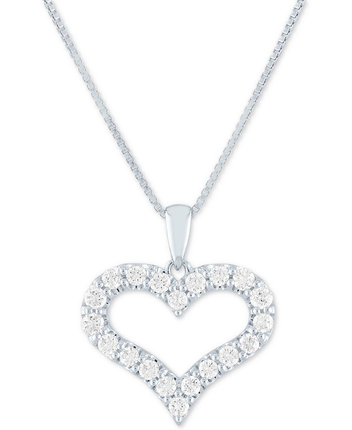 "Forever Grown Diamonds - Lab Grown Open Heart 18"" Pendant Necklace (1/2 ct. t.w.) in Sterling Silver"