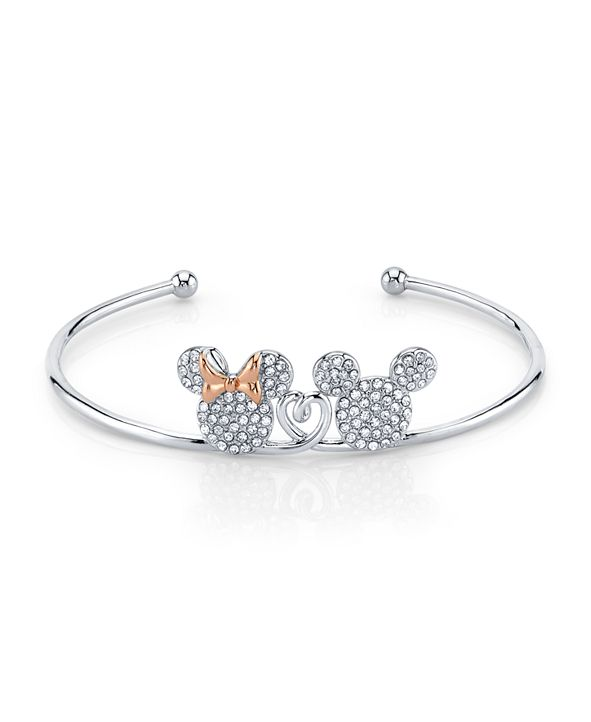Disney Mickey And Minnie Mouse Crystal Cuff In Rose Gold Two-Tone Plated Silver for Unwritten