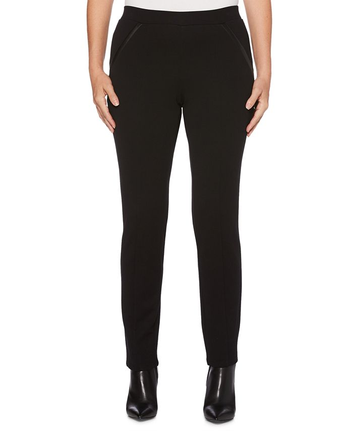 Rafaella - Comfort-Fit Faux-Leather-Trim Pants