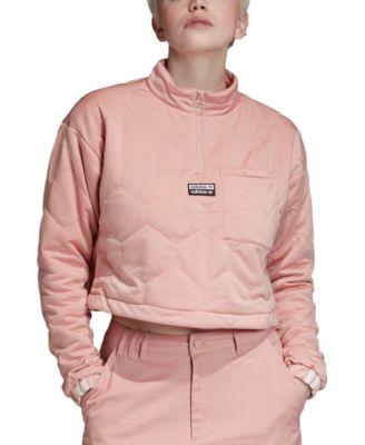 Quilted Half-Zip Cropped Sweatshirt