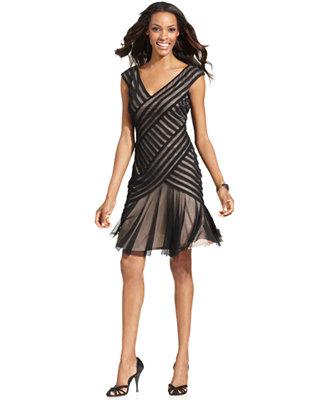 London Times Sleeveless Pleated Mesh Dress Dresses