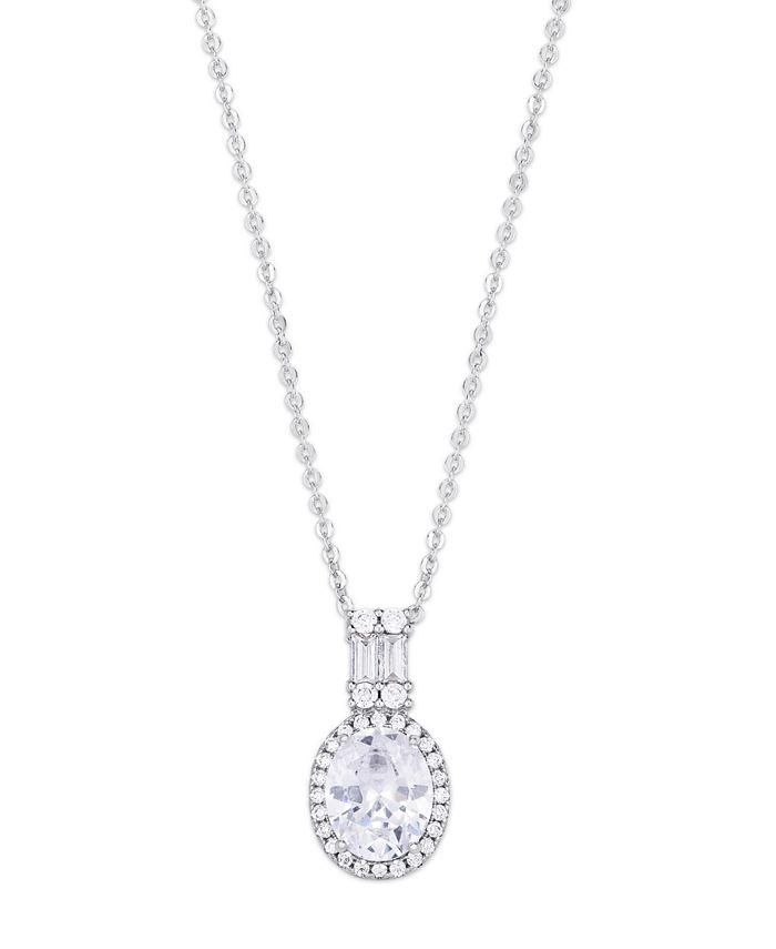 Macy's - Cubic Zirconia Oval Drop Pendant Necklace in Fine Silver Plate