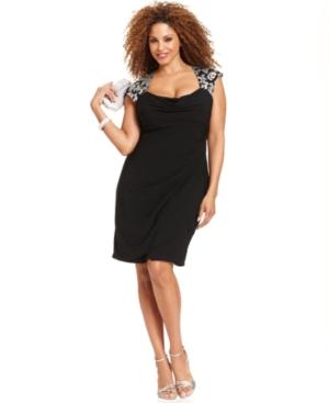 Xscape Plus Size Dress, Cap-Sleeve Sequin-Lace Cocktail