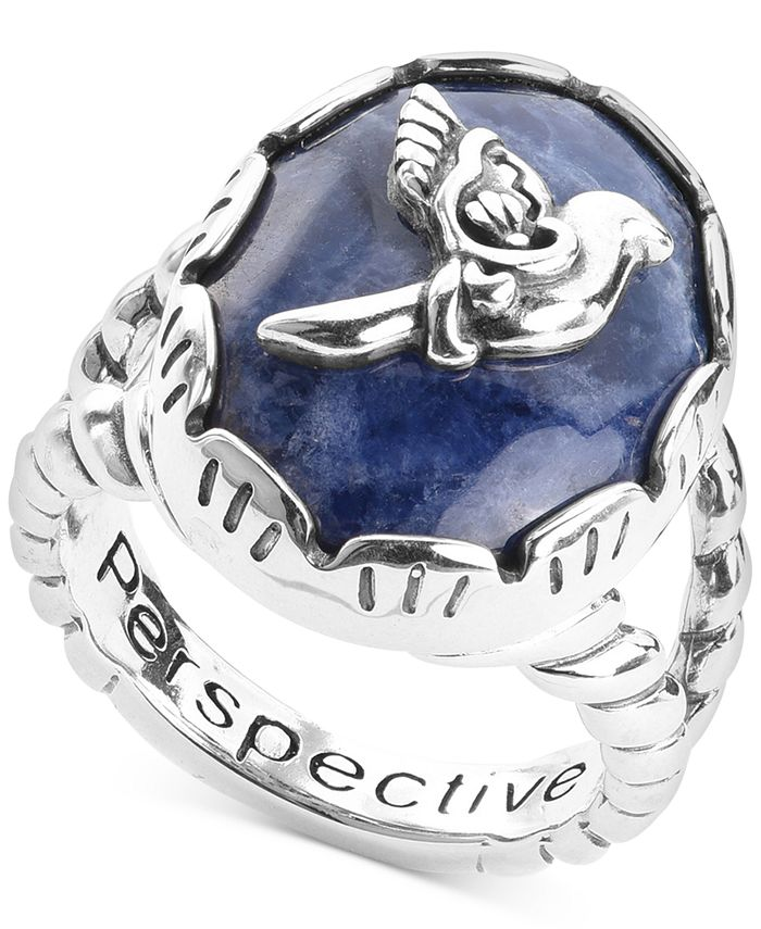 American West - Sodalite Bird Statement Ring in Sterling Silver
