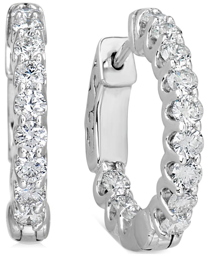 "Macy's - Certified Diamond Small Graduated In & Out Hoop Earrings (1-1/5 ct. t.w.) in 14k White Gold, 0.75"""