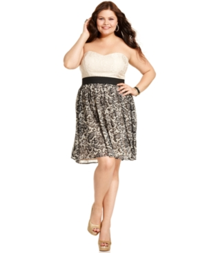 Trixxi Plus Size Dress, Strapless Lace Printed A-Line