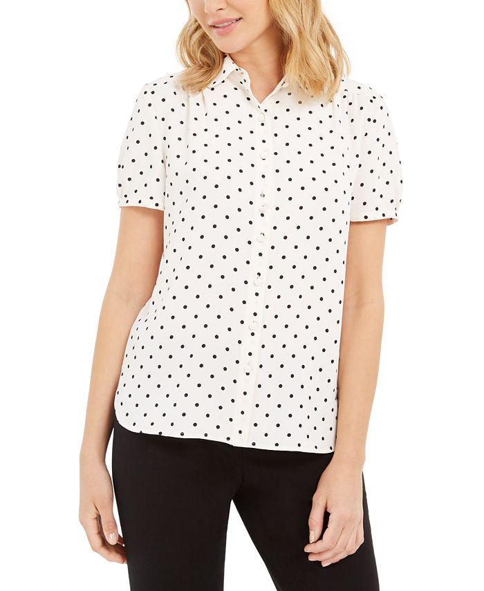 Anne Klein - Dot-Print Short-Sleeve Blouse