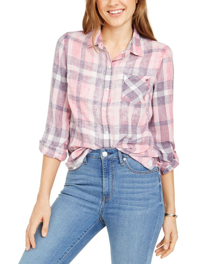 Tommy Hilfiger - Plaid Roll-Sleeve Shirt