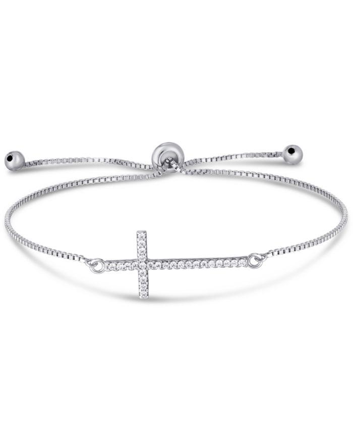 Macy's Cubic Zirconia Cross Adjustable Slider Bolo Bracelet in Fine Silver Plate & Reviews - Bracelets - Jewelry & Watches - Macy's