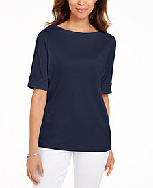 Karen Scott Plus Size Cotton Elbow-Sleeve Top, Created for Macy's