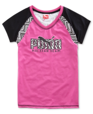 Puma Kids TShirt Girls ColorBlocked Logo Performance Tee