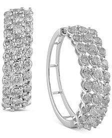 "Diamond Medium Hoop Earrings (2 ct. t.w.) in 14k White Gold, 1.1"""