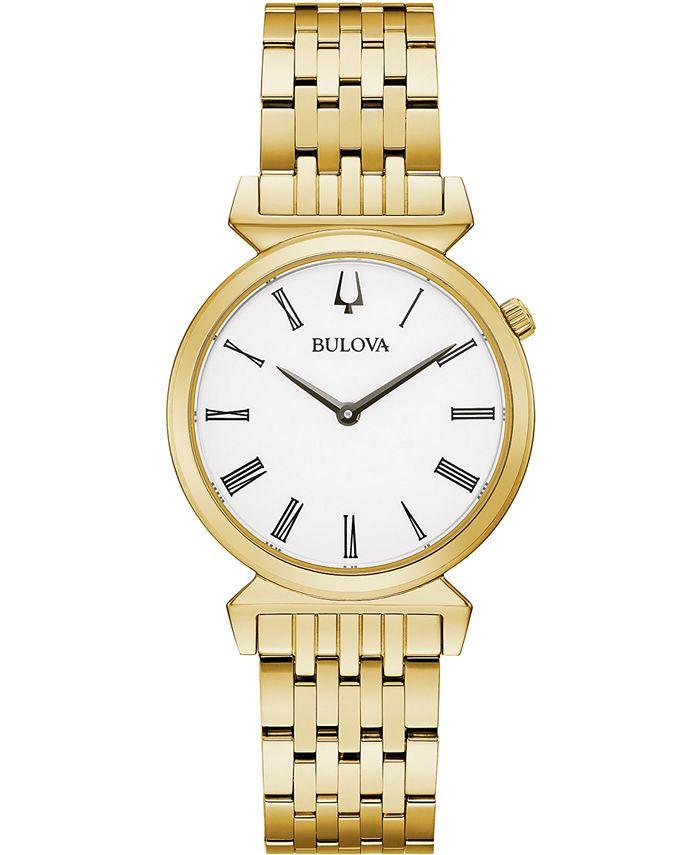 Bulova - Women's Regatta Gold-Tone Stainless Steel Bracelet Watch 30mm