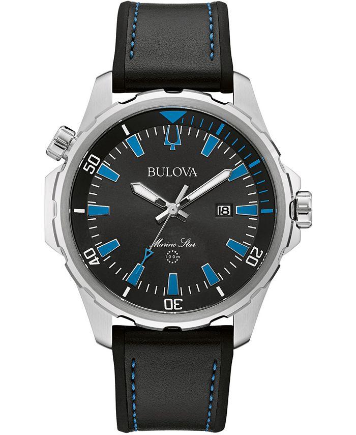 Bulova - Men's Marine Star Black Silicone & Leather Strap Watch 43mm