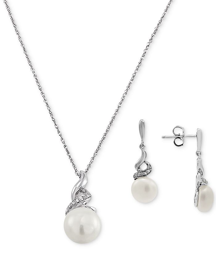 Macy's - 2-Pc. Set Cultured Freshwater Pearl (8 & 9mm) & Diamond (1/10 ct. t.w.) Pendant Necklace & Matching Drop Earrings in Sterling Silver