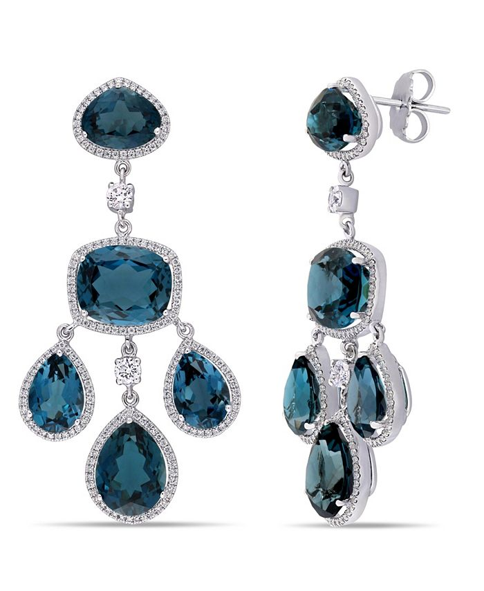 Macy's - Blue Topaz (55 ct. t.w.) and Diamond (1 7/8 ct. t.w.) Geometric Dangle Earrings in 18k White Gold