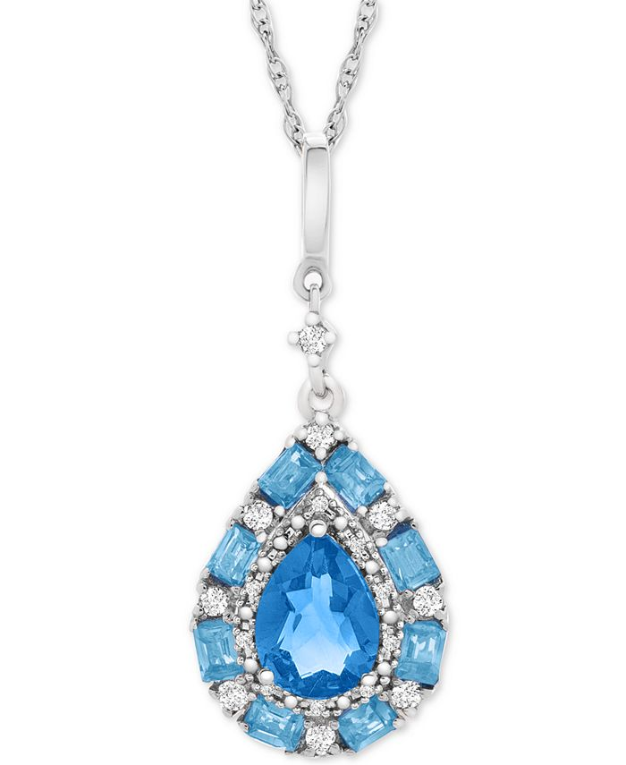 """Macy's - Blue Topaz (1-1/2 ct. t.w.) & White Topaz (1/6 ct. t.w.) 18"""" Pendant Necklace in Sterling Silver"""