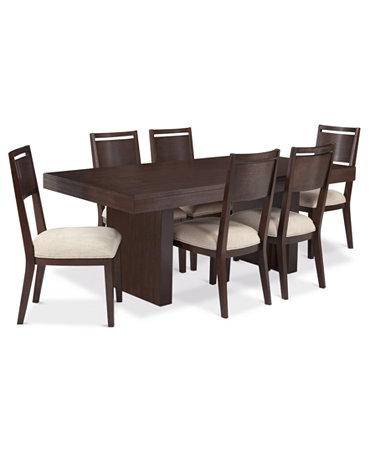 Garwood dining room furniture 7 piece set table and 6 for Macys dining room chairs