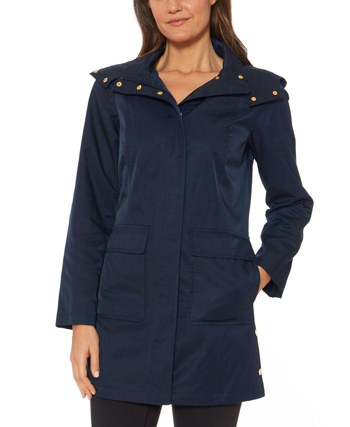 Jones New York - Hooded Snap-Collar Raincoat