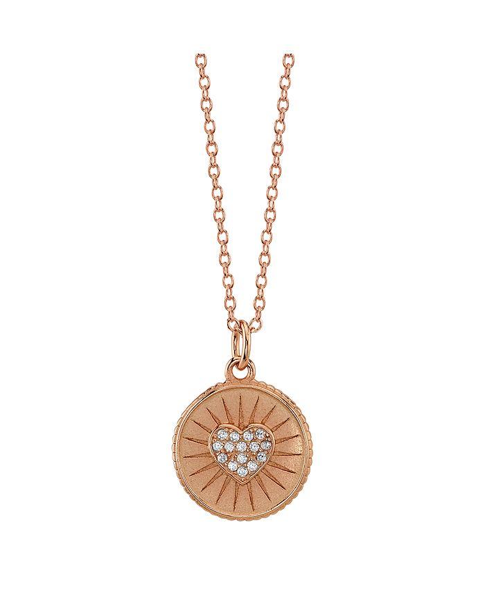 "Unwritten - Cubic Zirconia Heart Pendant  Necklace, 16""+2"" Extender"