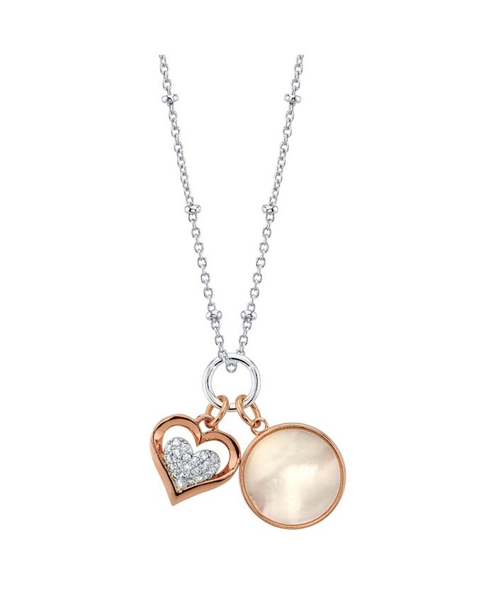 Unwritten - Cubic Zirconia Heart And Mother Of Pearl Pendant Rose Gold Two Tone Necklace