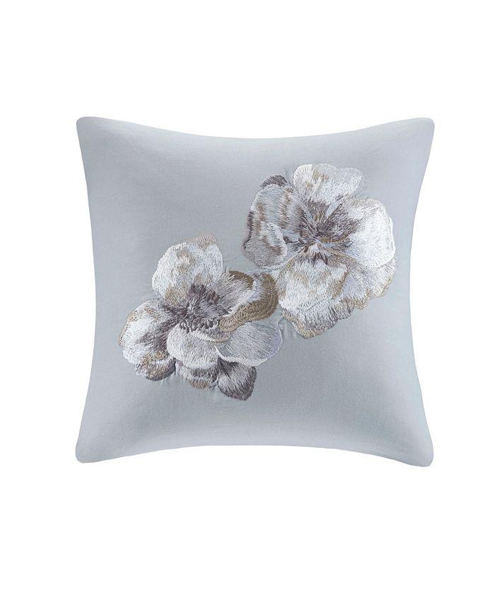 "Natori - Casa Nouveau 18"" x 18"" Embroidered Cotton Square Decorative Pillow"