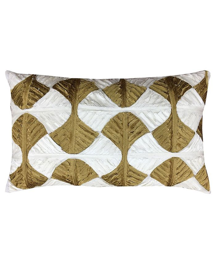 Mod Lifestyles Gold Collection Linden Leaves Applique Lumbar Pillow 12 X 20 Reviews Decorative Throw Pillows Bed Bath Macy S