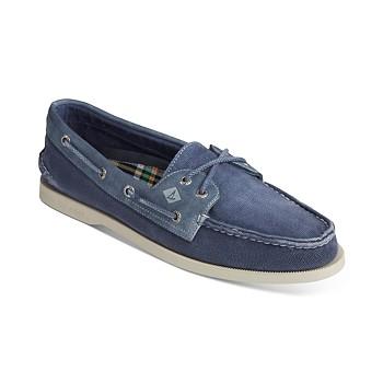 Sperry Men's Authentic Original 2-Eye Garment-Wash Boat Shoes
