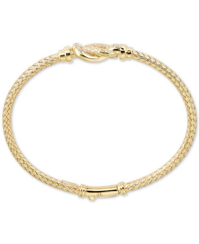 Macy's Diamond Interlocking Braided Bangle Bracelet (1/5 ct. t.w.) in 18k Gold-Plated Sterling Silver & Reviews - Bracelets - Jewelry & Watches - Macy's