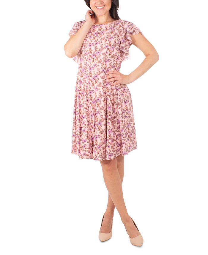 NY Collection - Petite Floral-Print Ruffle Dress