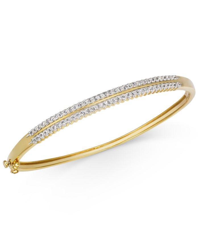 Macy's Diamond Double Row Bangle Bracelet (1 ct. t.w.) in 14k Gold & Reviews - Bracelets - Jewelry & Watches - Macy's