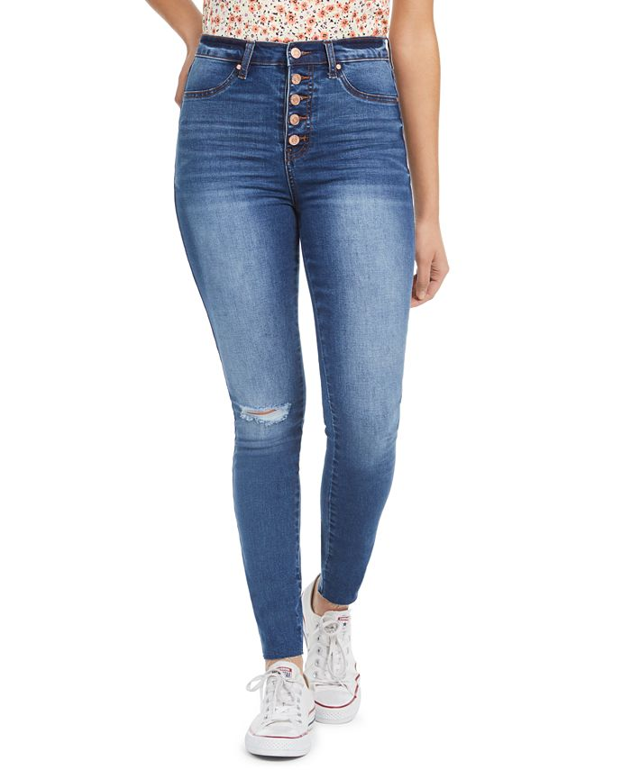 Celebrity Pink - Juniors' Ripped Button-Fly Skinny Jeans