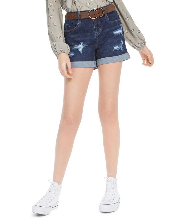Dollhouse - Juniors' Belted Cuffed Denim Shorts