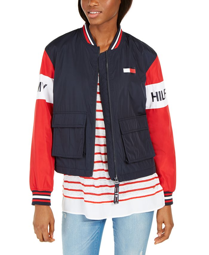 Tommy Hilfiger - Colorblocked Zip-Front Cropped Jacket