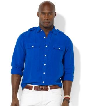 Polo Ralph Lauren Big And Tall Shirt Military G I Linen