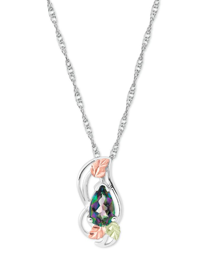 """Black Hills Gold - Mystic Fire Topaz (1 ct. t.w.) Pendant 18"""" Necklace in Sterling Silver with 12K Rose and Green Gold"""