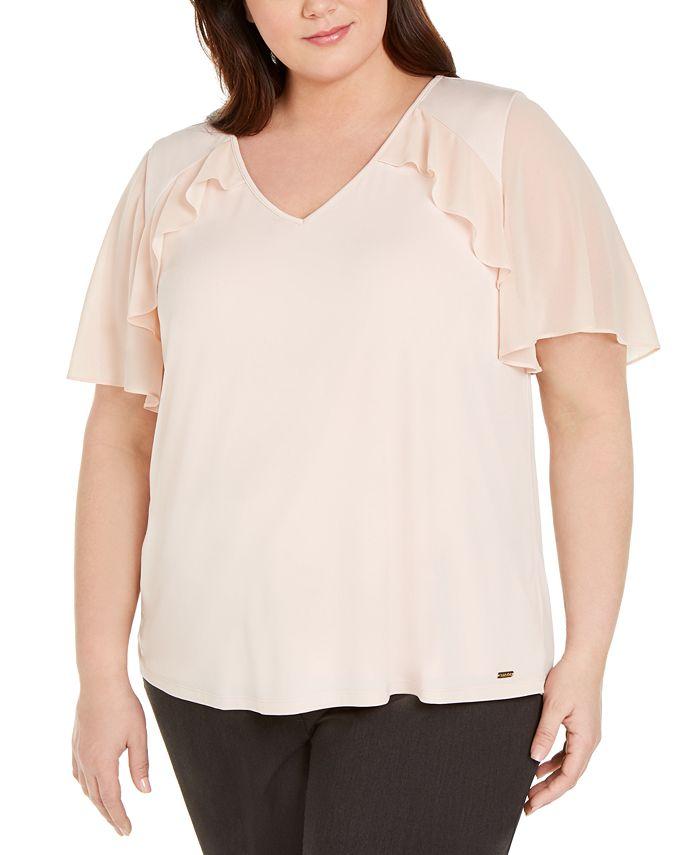 Calvin Klein - Plus Size Flutter-Sleeve Ruffled Blouse