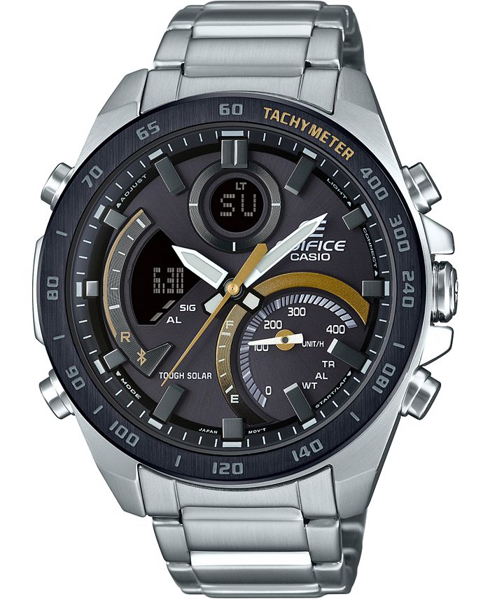 G-Shock - Men's Solar Analog-Digital  Stainless Steel Bracelet Watch 48mm