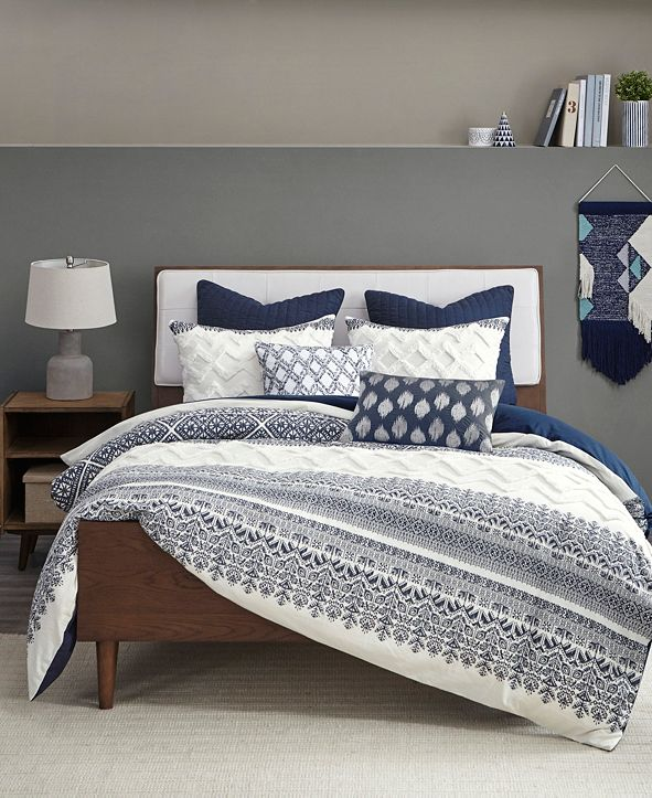 INK+IVY Mila 3-Piece Full/Queen Printed Duvet Cover Set